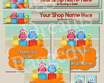 Premade Etsy Banner Set - Etsy Shop Banner - SHOP ICON - Shop Profile Photo - Shopping Bag Birds Boutique - Raggedy Dreams Etsy Shop Design
