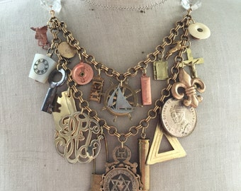 RESEREVED Steampunk Vintage Charm Statement Necklace - Memories of Grandpa