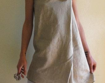Ecru tunic dress, infinity linen dress, multipurpose maternity dress, sleeveless dress