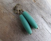 Aqua Matte Glass Dangle, Czech Bead Earrings, Simple Geometric Dangles