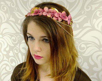 Flower Crown, Dusty Rose and Gold, Bridal Headpiece, Floral Wreath, Bridal Headdress, Boho, Woodland, Fantasy, Fairy, Elven, Cosplay,