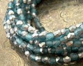 Silver Mist (50) -Czech Glass Faceted Rounds 4mm