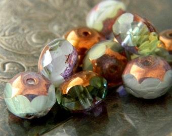 Spring Romance (10) -Czech Glass Rondelles 9x6mm