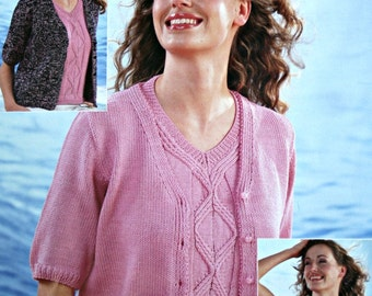 Knitting Patterns Sweater Cardigan Twinset Wendy 4813 Women Sizes 30 - 44 Inches 76 - 112 cm DK Weight Yarn & 4 Ply Paper Original NOT a PDF