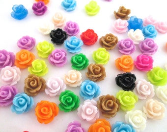 Assorted 10mm rose cabochons, pick your amount