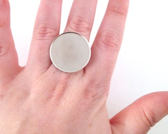 10 25mm serrated bezel ring blanks, silver tone