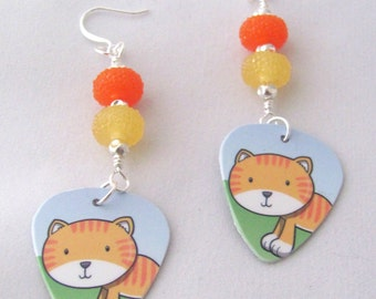 Striped Cat Earrings Gift Card Earrings Plastic Guitar Pick Earrings Orange Earrings Yellow Earrings Upcycled Gift Ideas for Girlfriends