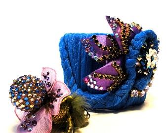 Purple blues, Braided and rhinestone decorated mixed-media Cuff bracelet