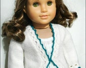 Hand Knit Wool Sweater For 18 Inch American Girl Dolls - Clara Cardigan - White With Turquoise Blue Crocheted Edging