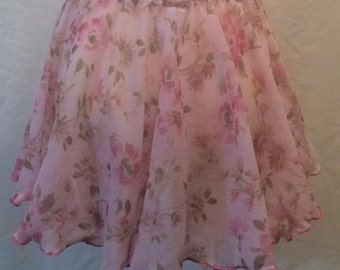 Dance Circle Skirt Pink Georgette Dance Circle Skirt Girls Dance Skirts Floral Georgette Circle Dance Skirt