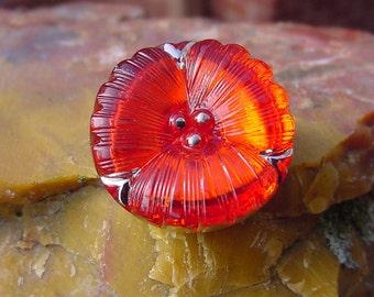 Petite Tangerine Pansy Czech Glass Button