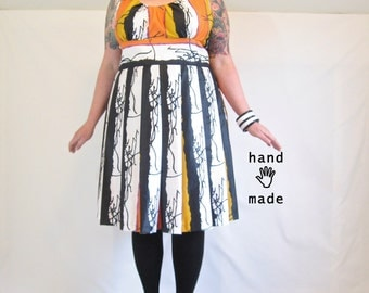 Pretty Scribbler Dress - plus size dress, size 22 / 24 / XXL - black white orange yellow, stripe, vintage cotton fabric -- 52B-44W-60H