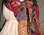 Red gypsy headdress, costume garb, multicolor red and black, belly dancer, drum circle