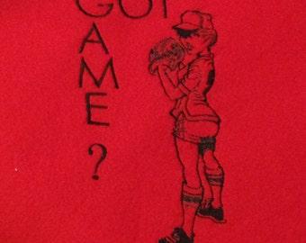 CIJ Sale 25% off Softball Blanket Embroidered GOT GAME Softball Embroidery Fleece Blanket Red