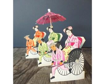 Japanese Place Holder Cards - Geisha and Rickshaw