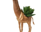 Gold Giraffe Planter Great Dorm, Nursery, Decor or Baby Shower Gift Ready to Plant