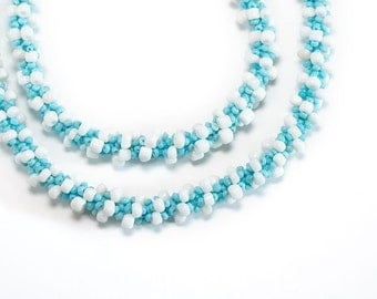Beaded Necklace // Blue and White // Seed Beads // Beadwork // Clearance
