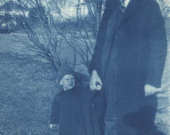 vintage photo 1912 My Daddy Cyanotype Baby Holding Father's Hand