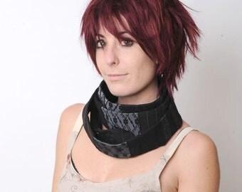 Black infinity scarf, Long black skinny patchwork scarf