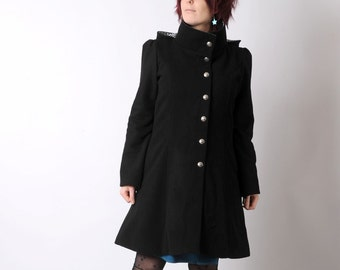 Black winter coat with Goblin Hood and tall collar, Black hooded coat, Black wool coat, Womens winter coat, size M