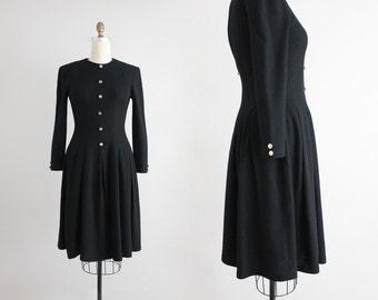 black wool dress / full skirt dress / black dress