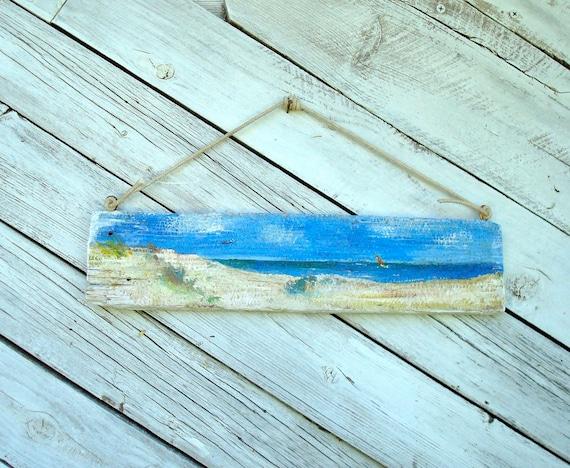 Beach Ocean Scene Folk Art Painting on Reclaimed Wood Panel