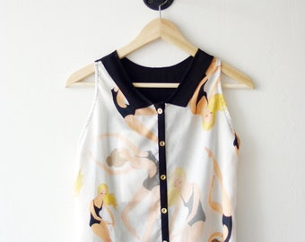 LAST ONE . Collared Printed Blouse . Gold Buttons on the Back . Open Back . Custom Print Little Swimmers - Holly Top