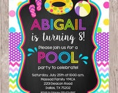 PRINTABLE Pool Party Invitation / Print Your Own Girls Swimming Birthday Party Invitations / Chalkboard and Rainbow Chevron / You Print