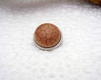 Blush reptile snake skin art glass snap charm chunk popper interchangeable handmade