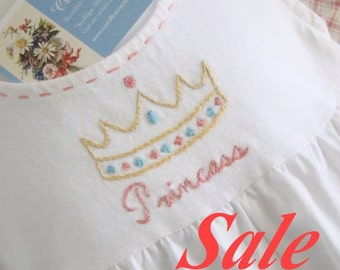 SALE - Little Princess - Hand Embroidered Girls Cotton Romper (Ready to Ship)