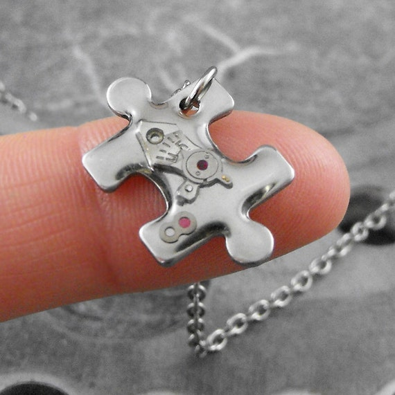 Tiny Steampunk Puzzle Piece Necklace - Solving the Puzzle of Time by COGnitive Creations