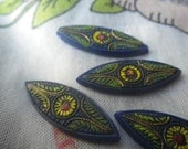 Hand Painted Vintage Medieval Blue Glass Horse Eye or Navette 25x10mm Plaques 4 Pcs