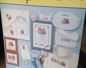 Pitter Patter Cross Stitch, Cross Stitch Tutorial, Baby Cross Stitch, Teddy Bear Cross Stitch, Bunnies, New Baby Gift