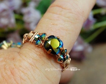 Vintage Swarovski Jet AB Hand Crafted Wire Wrapped Ring Original Signature Design Fine Jewelry