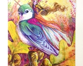Autumn Fairy Postcard - Sparrow Song - Violin Bird Rider - Stationary - Watercolor Art