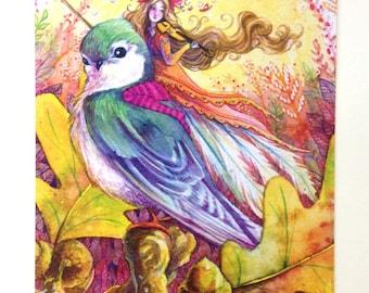 Autumn Fairy Postcard - Sparrow Song - Violin Bird Rider - Stationary - Watercolor Art