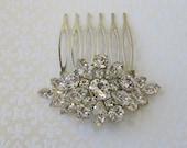 Small Crystal Comb, Clear crystal Comb, small flower comb, crystal hair clip, crystal hair brooch, rhinestone comb, crystal barrette