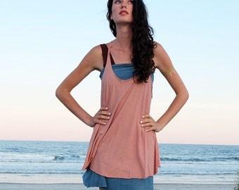 Organic Dress - Racer Back Tank Wanderer Shirt ( organic tissue cotton knit )  - organic shirt