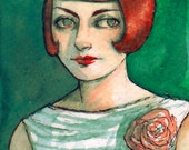 "ACEO Original Watercolor Painting Portrait ""Viridian"" by Amy Abshier-Reyes"