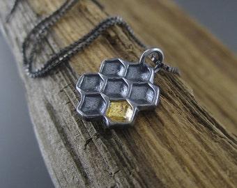 Golden Honeycomb Sterling Silver Handmade Pendant