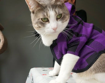 Cat Hoodie Purple Plaid S