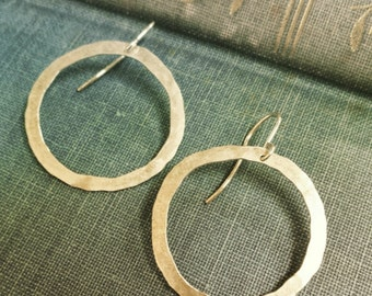 organic hoop earrings hammered sterling silver hoop earrings lightweight earrings simple silver hoops everyday jewelry classic hoop earring