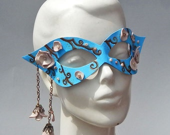 Pear Blossom Masquerade Mask made from Sculpted Leather - Floral Costume for Burning Man, Halloween, Gala or Masked Ball