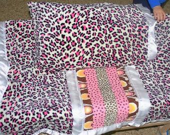 Baby blanket, minky receiving blanket, 30x30 inch, plush pink furry leopard minky