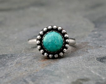 Desert Sky Turquoise Ring, Solid Sterling Silver Ring, Handmade in Your Size, Turquoise with Silver Dots, Southwestern, Big Sky, Jewel