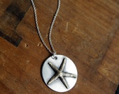 Tide Pool Necklace, Rustic Soldered Starfish Necklace, Sterling Silver and Brass, Soldered Pendant, Pendant Necklace