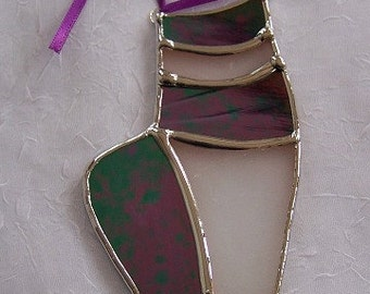 Stained Glass Ballet Slipper Suncatcher Ornament