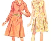 60s Shirt dress with front button closing Summer style sewing pattern Simplicity 8003 Bust 38 UNCUT