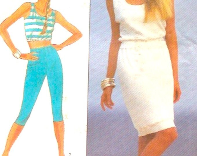 Summer pinup top cropped midriff top skirt pull on capri pants sewing pattern Size 10 to 16 Simplicity 8126 UNCUT