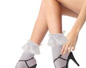 Gorgeous Vintage Fashion Women Ladies Princess Girl Lace Ruffle Ankle Socks in baby Blue fit size 5-10 US women shoe